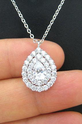 Crystal Teardrop Necklace in Silver, Cubic Zirconia Multi-Stone Halo Necklace, Wedding Pendant Jewelry, Bridesmaid Gift (N062)