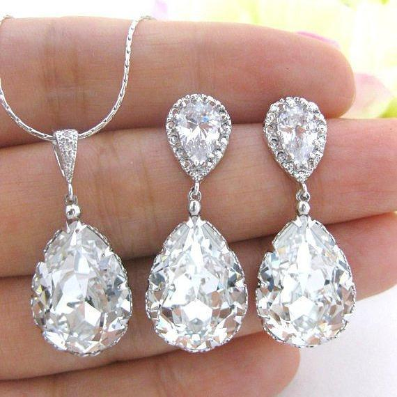 Bridal Crystal Earrings & Necklace Gift Set Swarovski Crystal Teardrop Wedding Jewelry Bridesmaids Gift Cubic Zirconia Jewelry (NE031)