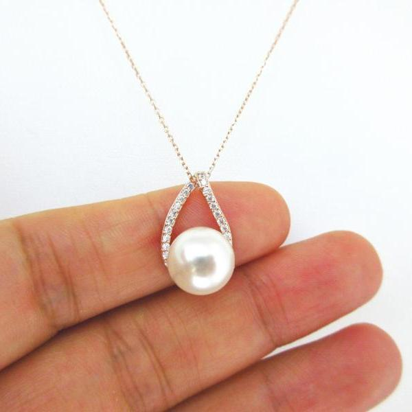 Bridal Pearl Necklace Rose Gold Cubic Zirconia Teardrop Swarovski 10mm Pearl Bridesmaid Gift Wedding Necklace Sterling Silver Chain (N029)