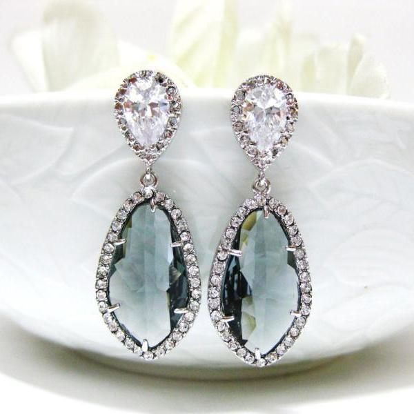 Dark Grey Charcoal Black Diamond Teardrop Earrings Cubic Zirconia Stud Earrings Bridesmaid Gift Wedding Jewelry Bridal Earrings (E055)