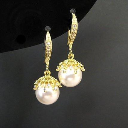 Gold Pearl Earrings Bridal Pearl Earrings Swarovski 10mm Round Pearl Flower Floral Pearl Earrings Wedding Jewelry Bridesmaid Gift (E301)