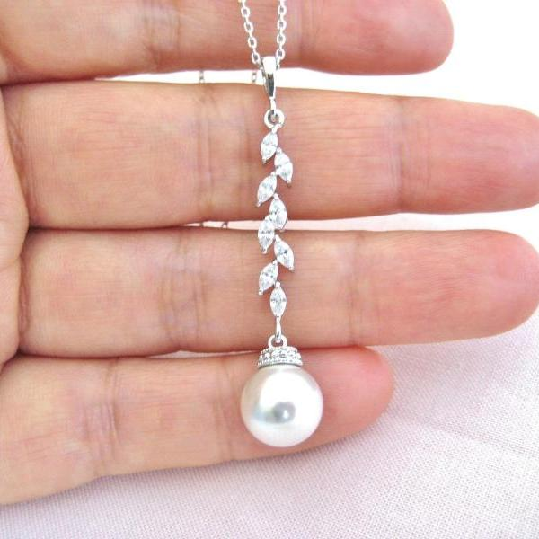 Bridal Pearl Necklace Wedding Jewelry Swarovski 10mm Pearl Necklace Long Dangle Necklace Cubic Zirconia Necklace Bridesmaid Gift (N015)