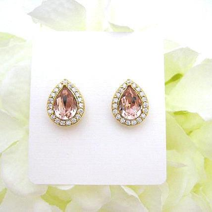 Swarovski Vintage Rose Teardrop Stud Earrings Light Peach Earrings Champagne Crystal Earrings Wedding Jewelry Gold Earrings (E303)