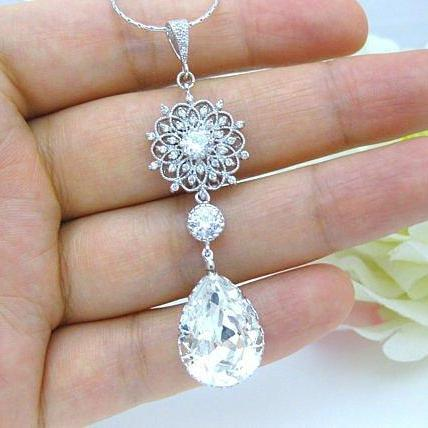 Bridal Crystal Necklace Swarovski Crystal Teardrops Necklace Wedding Necklace Chandelier Necklace Floral Necklace Vintage Necklace (N045)