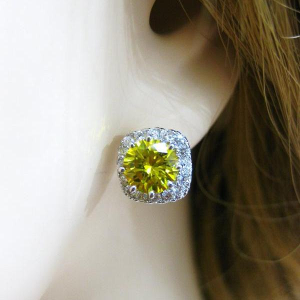 Sunflower Yellow Earrings Square Cubic Zirconia Stud Earrings Ruby Red Earrings Sapphire Blue Earrings Emerald Green Earrings (E129)