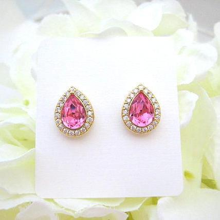 Swarovski Rose Pink Teardrop Stud Earrings Light Pink Earrings Cubic Zirconia Earrings Wedding Bridesmaids Gift White Gold Earrings (E303)