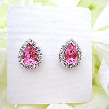 Swarovski Rose Pink Stud Earrings Light Pink Crystal Earrings Teardrop Earrings Bridesmaids Gift Cubic Zirconia Stud Earrings (E303)