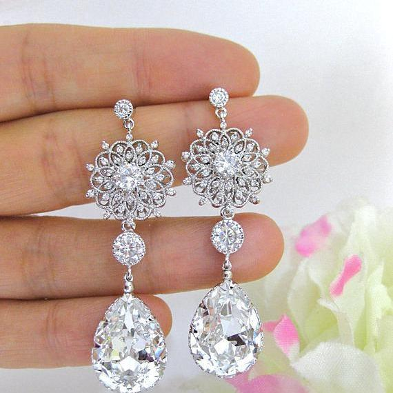 Bridal Crystal Teardrop Earrings Chandelier Earrings Wedding Earrings Swarovski Crystal Floral Earrings Bridesmaids Gift (E123)