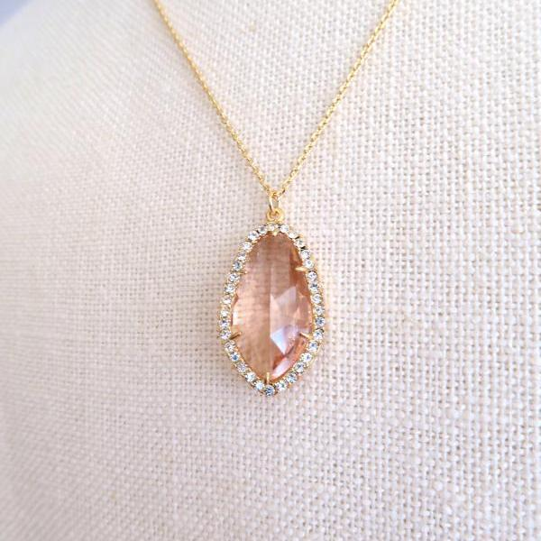 Champagne Peach Teardrop Necklace Crystal Charm Necklace Wedding Pendant Jewelry Bridal Necklace Bridesmaids Gift Birthday Gift (N013)