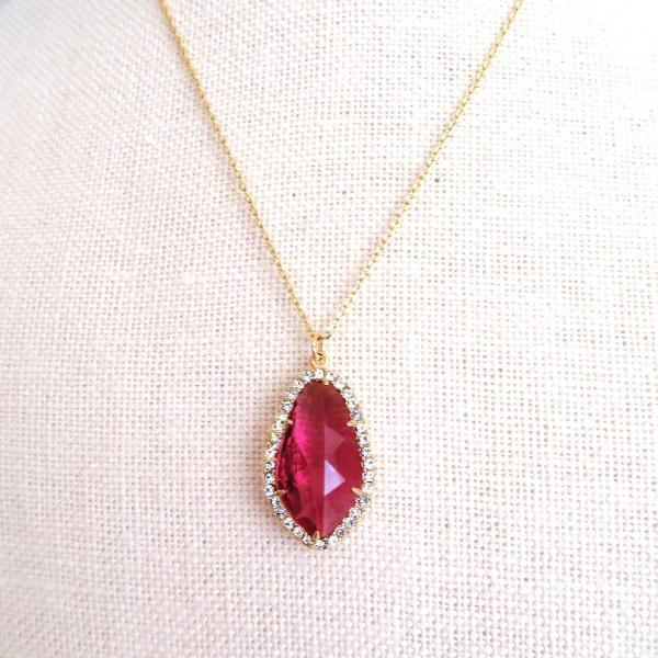 Ruby Red Teardrop Necklace Crystal Charm Necklace Wedding Bridal Pendant Bridesmaids Gift Birthday Gift Valentine's Day (N013)