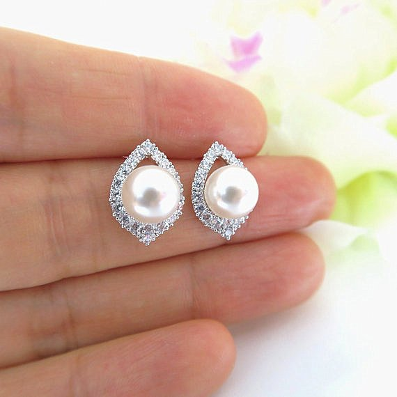Bridal Pearl Stud Earrings Swarovski 8mm Pearl Wedding Jewelry Bridesmaids Gift Sparky Cubic Zirconia Stud Earrings Mother's Day Gift (E186)