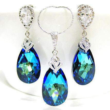 Bermuda Blue Teardrop Earrings & Necklace Gift Set Swarovski Crystal Jewelry Wedding Jewelry Bridesmaid Gift Bridal Earrings (NE046)