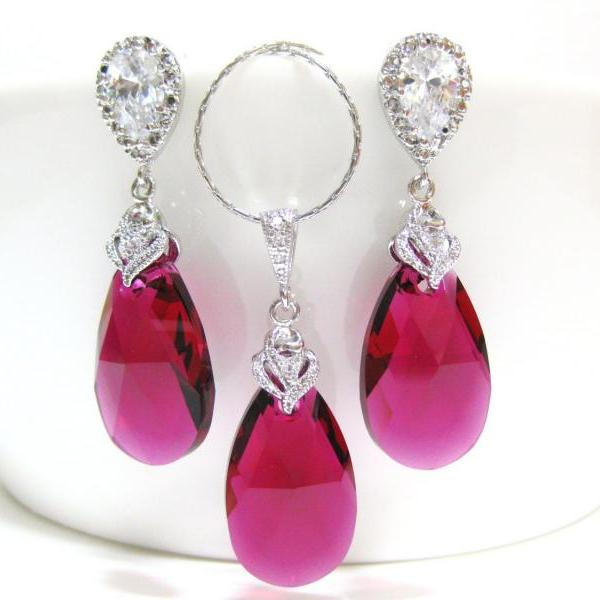 Ruby Crystal Earrings & Necklace Gift Set Swarovski Fuchsia Teardrop Hot Pink Earrings Wedding Jewelry Bridal Jewelry Red Earrings (NE027)