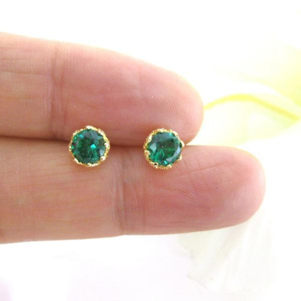 Emerald Green Earrings Cubic Zirconia Stud Earrings May Birthday Wedding Jewelry Minimalist Jewelry Christmas Gift Gold Earrings (E106)