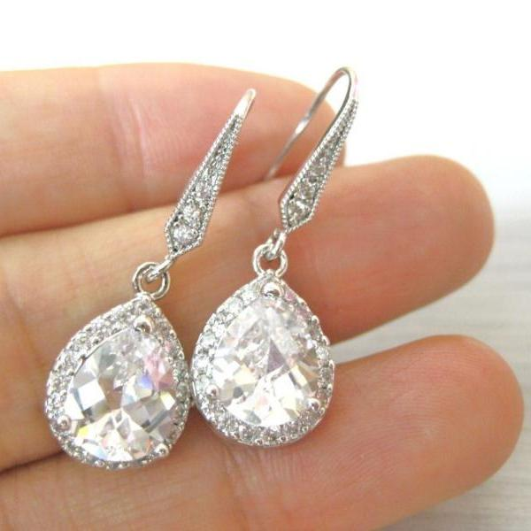 Bridal Crystal Earrings Wedding Teardrop Cubic Zirconia Earrings Rhine Stone Earrings Bridesmaid Gift Drop Dangle Earrings (E049)