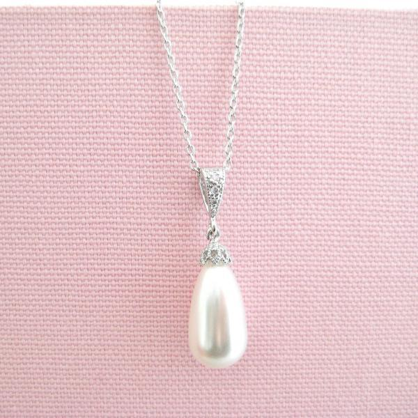 Bridal Pearl Necklace Wedding Pearl Single Necklace Swarovski Teardrop Pearl Bridesmaid Gift Single Pearl Necklace (N054)