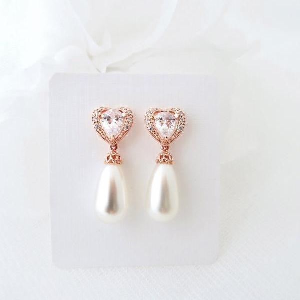 Rose Gold Bridal Pearl Earrings Wedding Earrings Swarovski Teardrop Pearl Heart-Shaped Cubic Zirconia Earrings Bridesmaid Gift (E140)