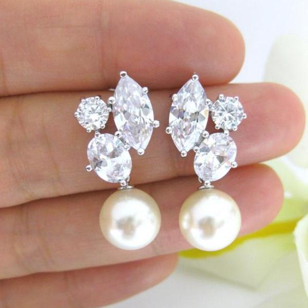 Cubic Zirconia Earrings Swarovski Round 10mm Pearl Earrings Wedding Jewelry Bridesmaid Gift Bridal Earrings Gift for Her (E007)