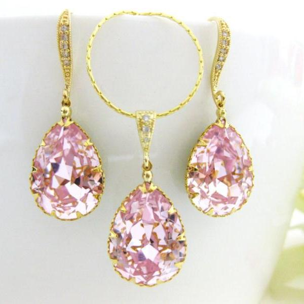 Bridal Blush Pink Teardrop Earrings & Necklace Gift Set Swarovski Rosaline Crystal Wedding Jewelry Bridal Jewelry Bridesmaids Gift (NE042)