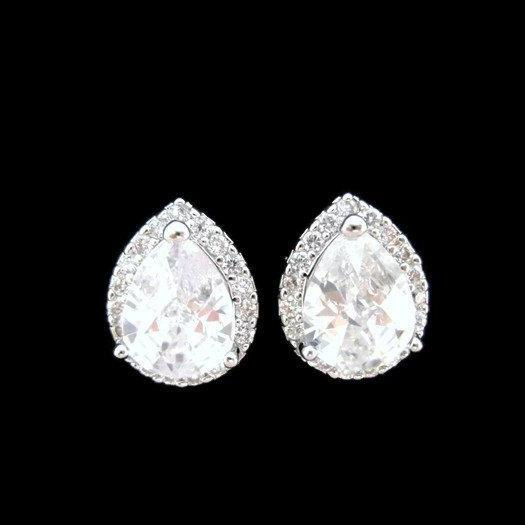 Bridal Crystal Stud Earrings Cubic Zirconia Teardrop Earrings Wedding Jewelry Bridesmaid Gift Mother of the Bride Rhinestone Earrings (E010)