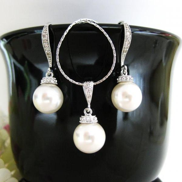 Bridal Pearl Earrings & Necklace Gift Set, Swarovski 10mm Round Pearl, Wedding Bridesmaid Gift, Bridal Party Jewelry (NE030)