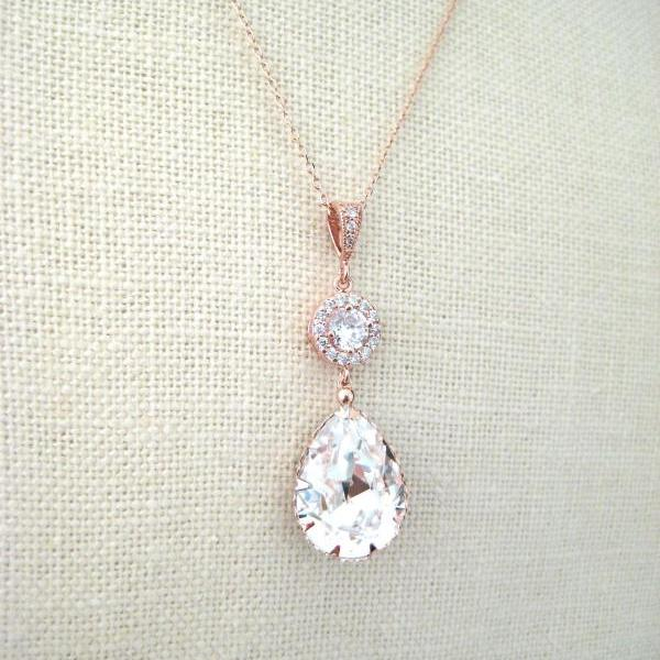 Rose Gold Bridal Crystal Necklace Swarovski Clear White Crystal Teardrop Necklace Wedding Jewelry Bridesmaid Gift Bridal Long Necklace(N142)