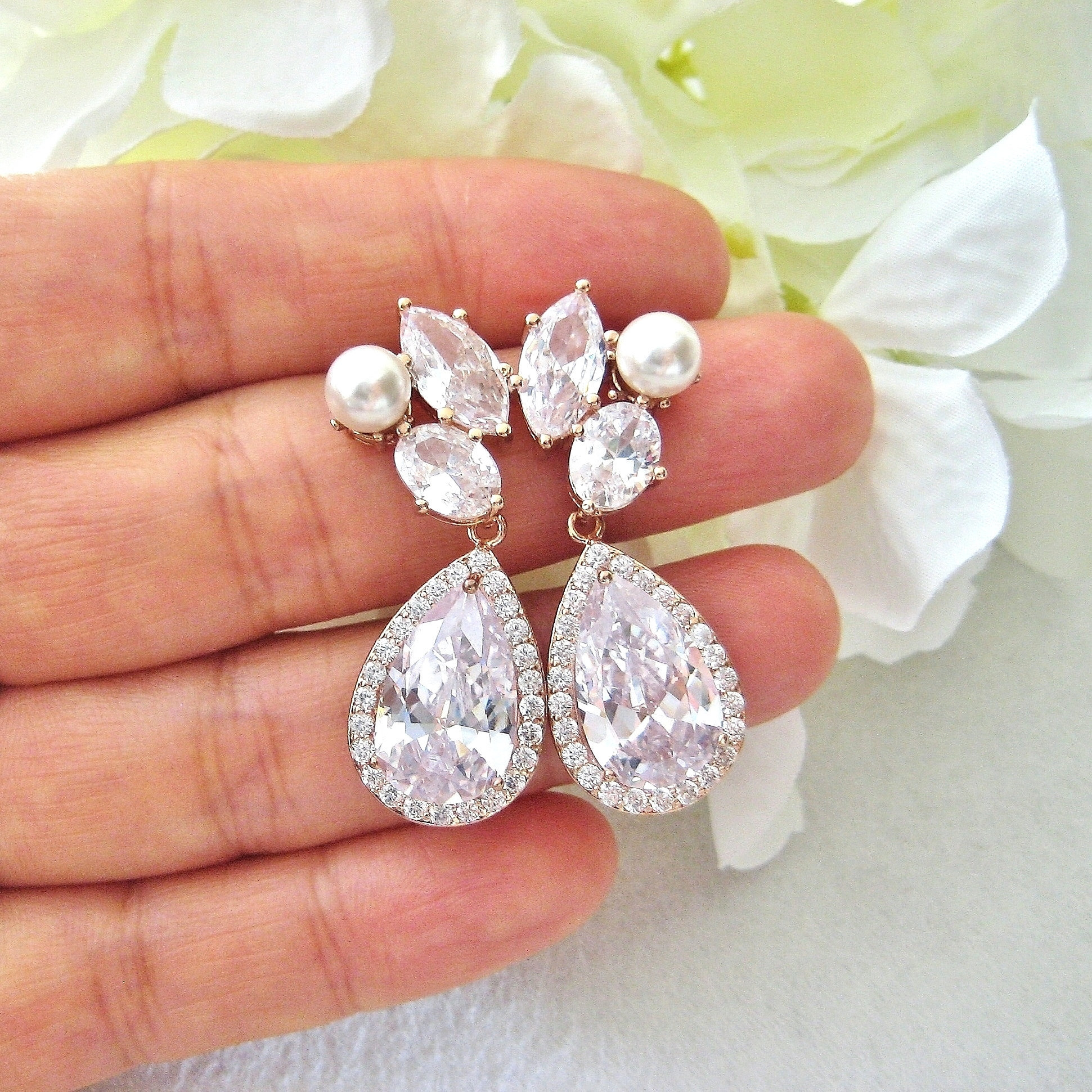 Bridal Crystal Earrings Rose Gold Teardrop Wedding Pearl Swarovski Bridesmaids Gift E312