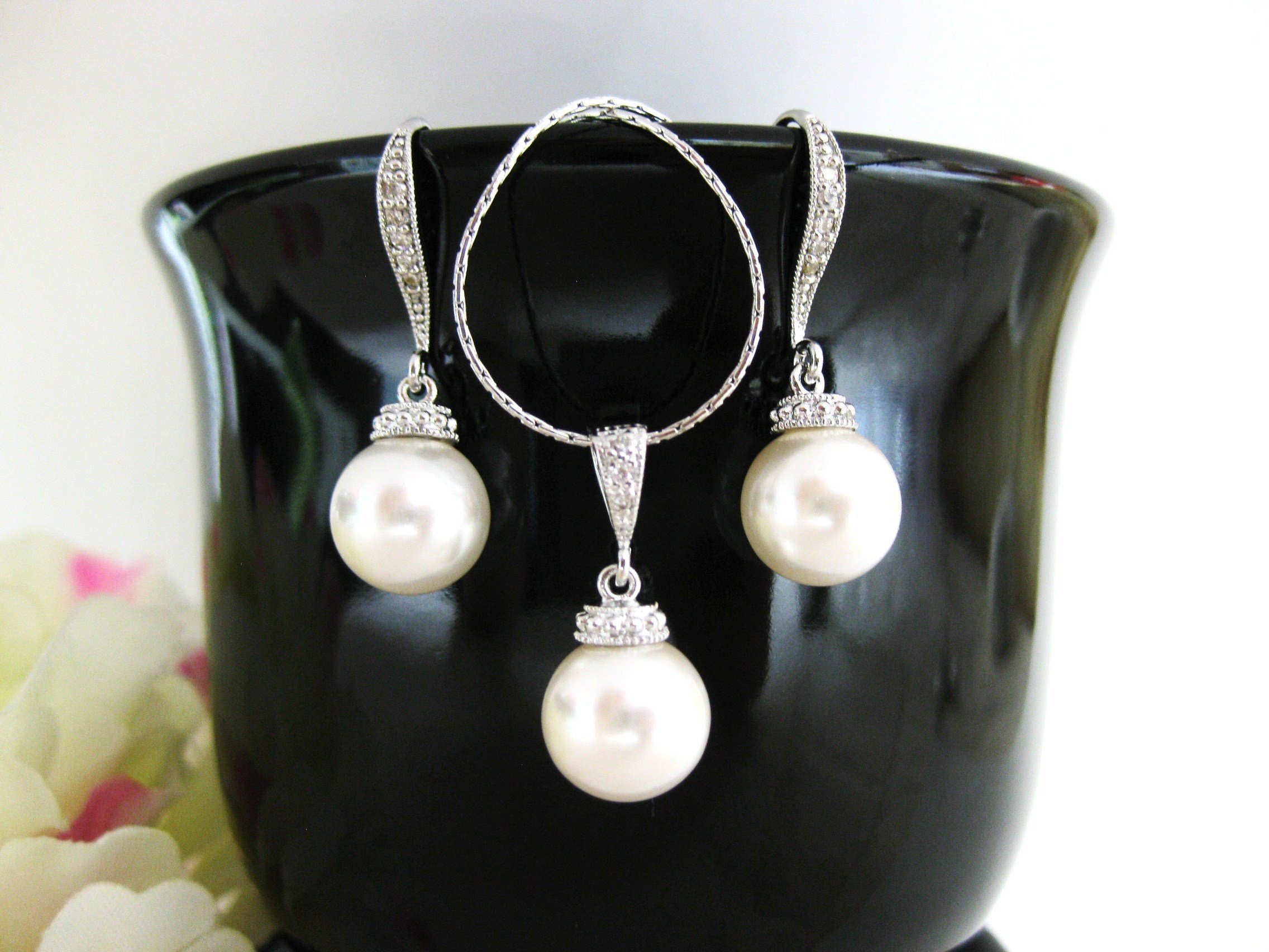 Bridal Pearl Earrings Necklace Gift Set Swarovski 10mm Round
